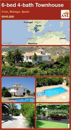 6-bed 4-bath Townhouse in Coin, Malaga, Spain ►€645,000 #PropertyForSaleInSpain Malaga Spain, Casablanca, Lisbon, Morocco, Townhouse, Madrid, Portugal, Bath, Bathing