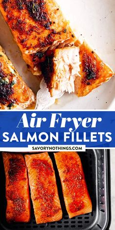 Cooking salmon in the air fryer makes it come out perfectly flakey, succulent and with a lovely browned top. It's full of flavor, but the air fryer will keep your home smelling of fish! | #fishrecipes #salmonrecipes #salmon #fish #airfryer #airfryersalmon #airfryerrecipes #airfryercooking #dinnerideas #dinnerrecipes #easydinnerrecipes #easydinner #easyrecipesforbeginners Easy Family Dinners, Quick Easy Meals, Easy Dinner Recipes, Family Meals, Best Fish Recipes, Salmon Recipes, Healthy Recipes, Creamy Salmon Pasta, Fried Salmon