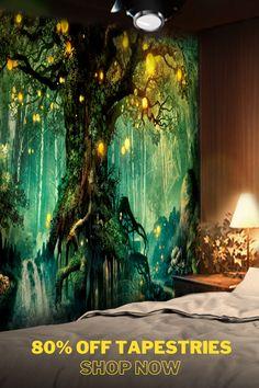 Fantasy Landscape, Fantasy Art, Fantasy House, Art Diy, Wall Murals, Wall Hangings, Contemporary Wall Art, Tree Lighting, My New Room