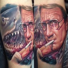 Jaws Colour Portrait Tattoo by Paul Acker