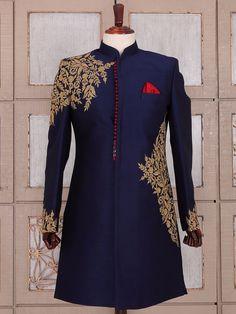 Shop Navy blue silk wedding wear indo western online from India. Sherwani For Men Wedding, Wedding Dresses Men Indian, Mens Sherwani, Wedding Dress Men, Wedding Suits, Wedding Wear, Blue Sherwani, Indian Men Fashion, Mens Fashion Suits