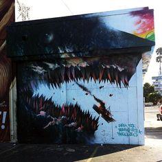 Shark Toof At Muralsinthemarket In Detroit MI USA STREET - Awesome mechanical shark mural phlegm