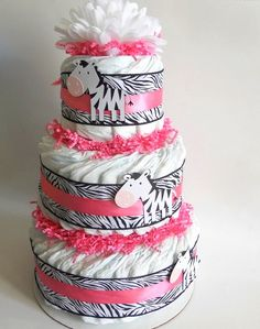 Zebra Baby Shower Diaper Cake In Hot Pink by DiaperCakeBoutique, $42.00