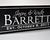 Personalized Wedding Sign Family Name Sign Plaque Established Carved Engraved 8x24. $36.00, via Etsy.