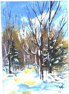ACEO  WINTER TRAIL landscape painting by Jim by jimsmeltzgallery, $20.00