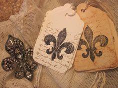 Handmade Gift Tags ♥ Fleur de Lis ♥ Aged Glitter 30   eBay 5.00