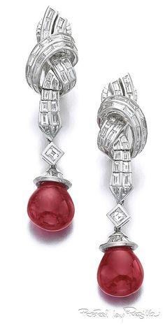 Regilla ⚜ Pair of diamond ear clips with ruby drops, Bulgari