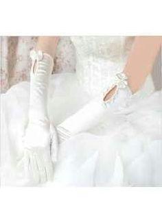 Satin bride gloves