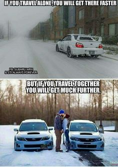 If you travel alone you will get there faster. But if you travel together you will get farther. Truck Memes, Car Humor, Funny Car Quotes, Buick, Bugatti, Supercars, Car Pictures, Funny Pictures, Dodge