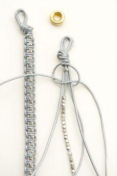 Sur la base du nœud Shamballa (macramé), un bracelet tout simple à réaliser avec du fil de cuir et des perles argentées