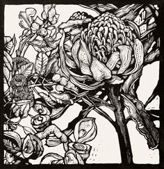 Andrew Crooks ~ Waratah Flower with Eucalyptus and Hakea Pods (2013) ~ Linocut, Arches Aquarelle off-white 185 gsm paper, 30 x 30 cm