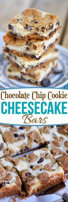 These easy Chocolate Chip Cookie Cheesecake Bars are made with just five ingredients! This easy dessert recipe will satisfy all your cravings! // Mom On Timeout #cheesecake #bars #recipe #dessert #easy