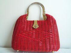 Vintage red wicker purse