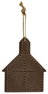 Punched tin has the rustic country look that you adore, and these ornaments are classic accents for trees, wreaths and garlands year-round! Antiqued tin chapel/house shape with a punched cross design,