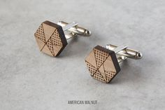 Geometric cufflinks, fathers day cufflinks, solid timber, 5th year anniversary gift, laser cut wedding cufflinks
