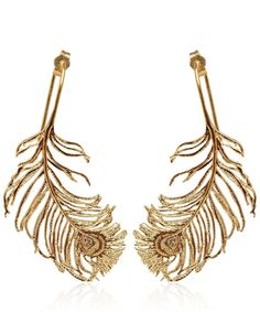 Peacock Feather Gold Earrings - Alex Monroe for Liberty London