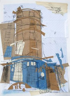 Drawing onto tissue paper cutouts! New Town Deli, Broughton Street, Edinburgh Collage with Monoprint 2015 Made as a present for a very loyal New Town Deli coffee drinker! Sketchbook Layout, Textiles Sketchbook, Artist Sketchbook, Collages, Collage Art, City Drawing, Observational Drawing, Collage Techniques, Building Art