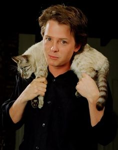 """Just me n' my cat scarf."" - Michael J. Fox"