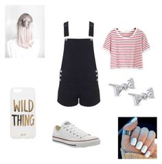 """""""Overalls #32"""" by christinaj36 ❤ liked on Polyvore featuring Miss Selfridge, Sonix, Kobelli and Converse"""