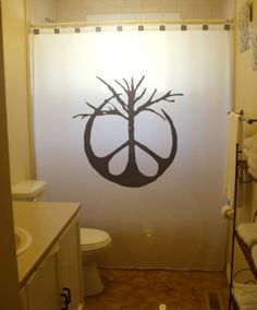Peace Sign Tree Shower Curtain Bathroom Decor Kids Bath Symbol Branch 70s hippie life unique