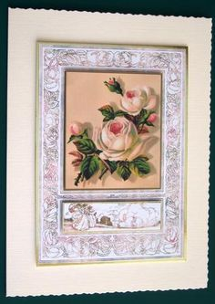 floral framed on Craftsuprint designed by Cynthia Berridge - made by Lorraine Reed - This is a pretty topper for a quick card, which in fact I printed twice and can be used for many occasions. I cut and framed the 1st copy of the topper in gold mirror card and placed onto an A5 cream deckle edge card. I then cut out the flowers and small panel to layer onto the main image using foam pads. I just love the versatility of this download. - Now available for download!