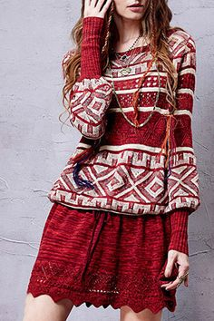 Geometric Pattern Long Sleeve Sweater Dress - CLARET ONE SIZE(FIT SIZE XS TO M)