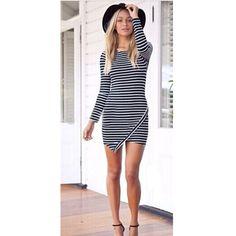 2015 New Slim Summer Women Fashion Black White Stripe Dress O-Neck Casual Mini Dress Vestidos Plus Size S-XL