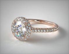 49364 engagement rings, halo, 14k rose gold falling edge pave diamond engagement ring item - Mobile
