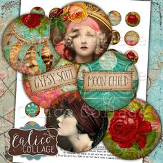 Gypsy Love, Bottlecap Images, Digital, Collage Sheet, Printable Images, 1 Inch Circles, Boho Collage Sheet, Printable Download, Images for Pendants, Jewelry images, Decoupage Paper, Calico Collage, Circle Collage Sheet, 1 Inch Collage Sheet Collage Sheet includes 42 Designs. Each image