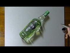 Drawing timelapse: a bottle of Oddka vodka - hyperrealistic art - YouTube