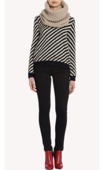 Barneys New York English Rib Cowl Scarf, sweater and red booties.