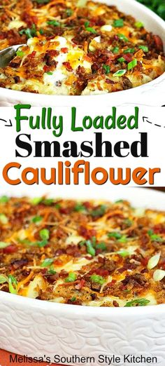 This Fully Loaded Smashed Cauliflower is an over-the-top cauliflower side dish that's certain to satisfy potato and carb shy eaters alike. Healthy Side Dishes, Vegetable Side Dishes, Side Dish Recipes, Lunch Recipes, Vegetable Recipes, Diet Recipes, Vegetarian Recipes, Cooking Recipes, Healthy Recipes