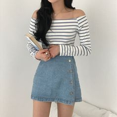 Mode Outfits, Trendy Outfits, Girl Outfits, Fashion Outfits, Womens Fashion, Korean Outfits Cute, Summer Outfits Korean, Korean Outfits School, Korean Clothes