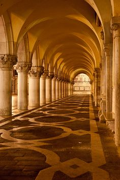 Arches along the Doge's Palace, Venice Italy