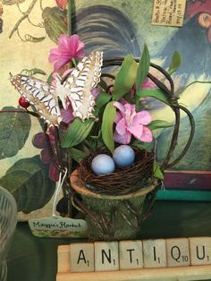 HOMESPUN Rustic Butterfly Floral Basket | Silk Flowers | Spring Flowers | Nature | Handmade | Farmhouse | Cottage Chic | Home Decor