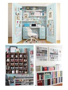 Scrapbook organization galore! This scrap space is amazing.  It's such an inviting work space with such a soothing color palette.  I love how everything seems to be in plain sight.  Where, oh where is the paper storage though?  Love, love, love the pegboard inside the closet doors and the wallpaper as a back splash.  So much inspiration here.