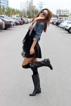 black skater skirt, hunter boots, leg warmers, a denim jacket and a blush scarf
