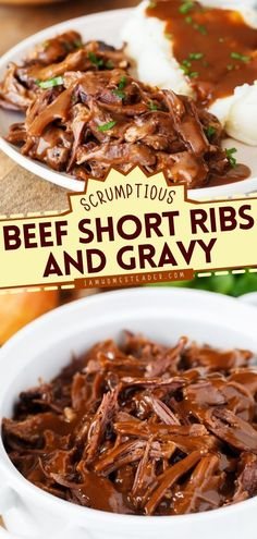 Make dinner special with this main dish idea! Beef Short Ribs and Gravy is a delicious dinner recipe cooked in a slow cooker so that all the flavors of the beef are seeped in. Pin this easy beef dinner! Delicious Dinner Recipes, Yummy Food, Easy Homemade Recipes, Beef Short Ribs, Gravy, Crock Pot, Dinner Ideas, Slow Cooker, Main Dishes