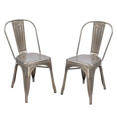 2016 NEW! Adeco Metal Stackable Industrial Chic Dining Bistro Cafe Side Chairs, Outdoor and Indoor, Silver Gun Metal,Set of 2