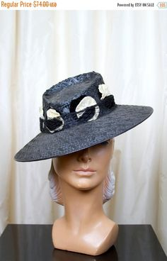 HOLIDAY SALE 1940s Hat // Black Straw Fedora with Millinery