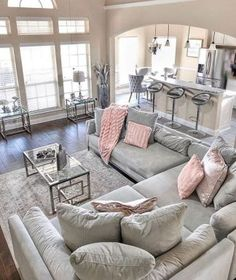 Glam Living Room, Living Room Decor Cozy, Home And Living, Modern Living, Small Living, Luxury Living, Living Room Goals, Blush And Grey Living Room, Big Living Rooms