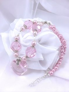 Pink Swarovski Necklace, Pink Heart Necklace, Crystal Heart, Pink Pearls, Chunky Pink Necklace on Etsy, $21.00