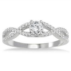 1/2 Carat Diamond Engagement Ring in 10K White Gold