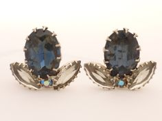 Midnight Blue and Smokey Grey Dogtooth Set Rhinestone Clip Back Earrings