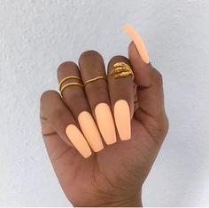 light orange coffin nails
