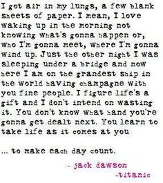 Jack Dawson :) also, I just read this in his voice. you did too. love <3