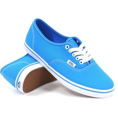 Vans Women's Authentic Lo Pro (Neon Blue) Women's Shoes ($45) ❤ liked on Polyvore featuring shoes, sneakers, vans, zapatos, neon blue shoes, low top, vans footwear, laced up shoes and laced shoes