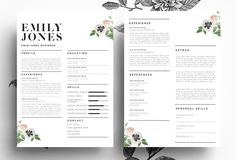 Modern Resume/ PSD+Word File by Emily's ART Boutique on @creativemarket
