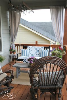 DIY:: Farmhouse Front Porch Makeover On a Very Limited Budget ! (All the Details & Tutorials) Great Post ! Porch Curtains, Home, Farmhouse Front, Front Porch Decorating, Outdoor Rooms, House, Farmhouse Front Porches, Porch Decorating, Porch Makeover
