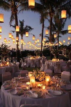 Outdoor Wedding Ideas: 20 Amazing Ways To Use Floating Lanterns beach themed wedding reception decoration ideas with floating lanterns<br> Perfect Wedding, Dream Wedding, Wedding Day, Wedding Beach, Trendy Wedding, Magical Wedding, Unique Weddings, Romantic Weddings, Wedding Blog